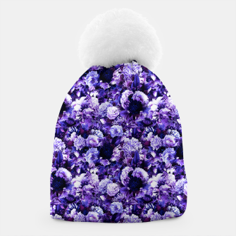winter flowers seamless pattern 01 small purple Beanie thumbnail image