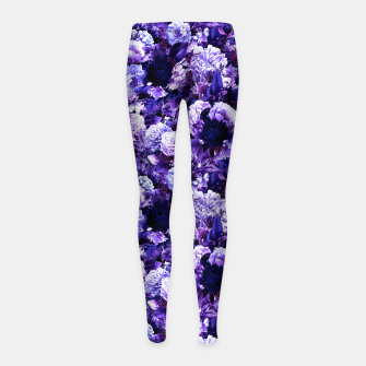 winter flowers seamless pattern 01 small purple Girl's leggings thumbnail image