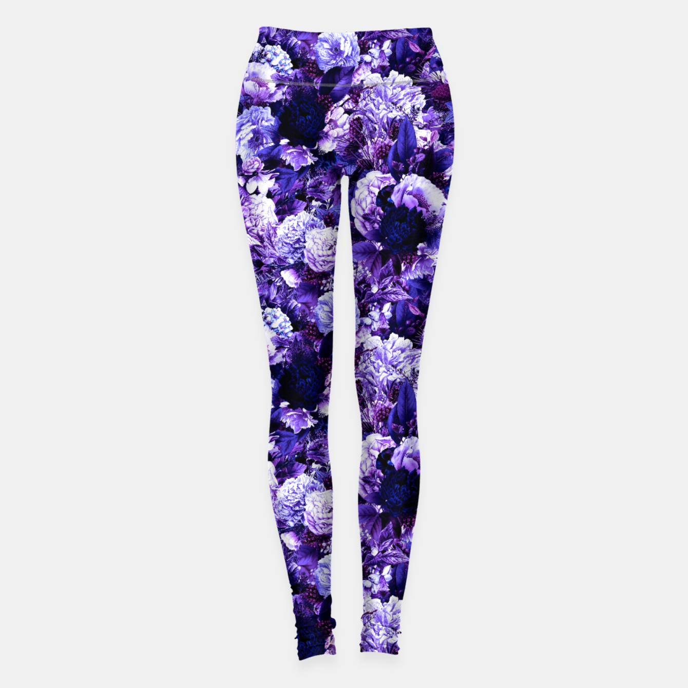 Image of winter flowers seamless pattern 01 small purple Leggings - Live Heroes