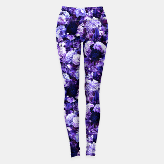 winter flowers seamless pattern 01 small purple Leggings thumbnail image