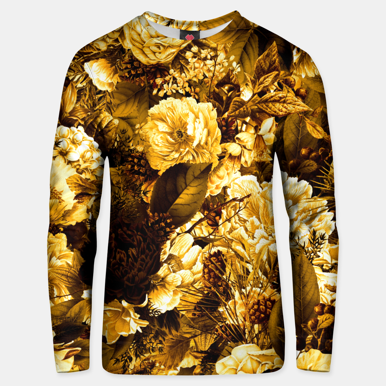 Image of winter flowers seamless pattern 01 big warm yellow Unisex sweater - Live Heroes