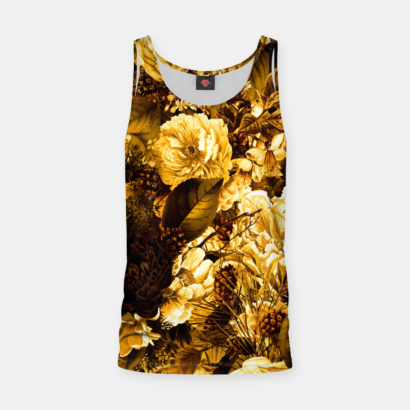 Image of winter flowers seamless pattern 01 big warm yellow Tank Top - Live Heroes