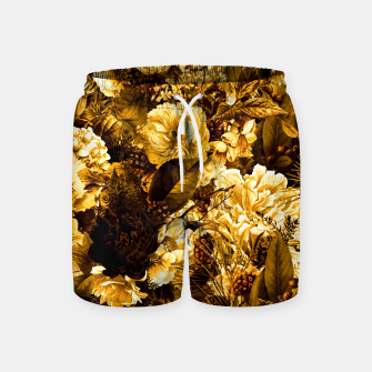 winter flowers seamless pattern 01 big warm yellow Swim Shorts thumbnail image