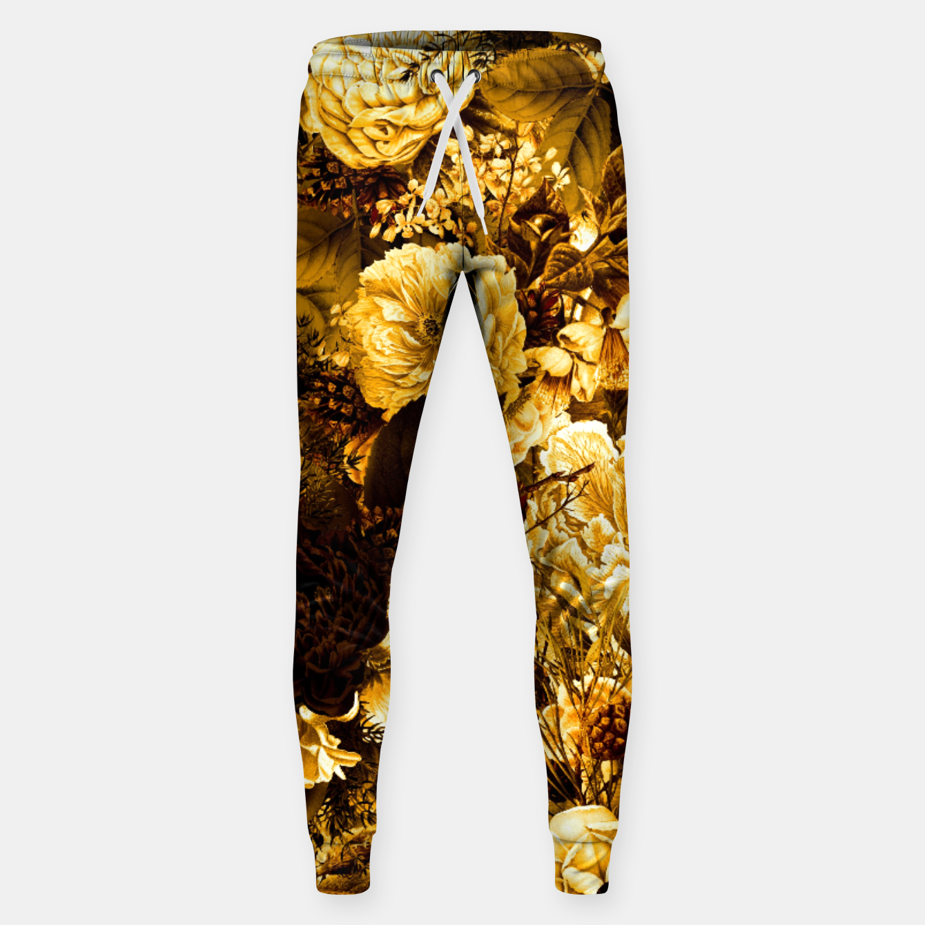 Image of winter flowers seamless pattern 01 big warm yellow Sweatpants - Live Heroes