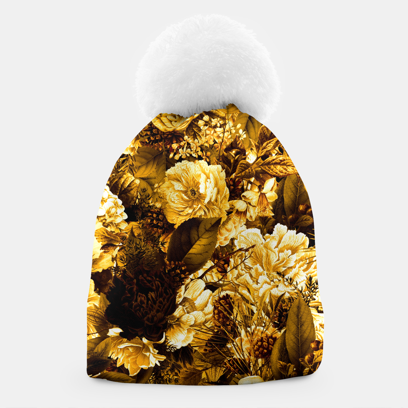 Image of winter flowers seamless pattern 01 big warm yellow Beanie - Live Heroes