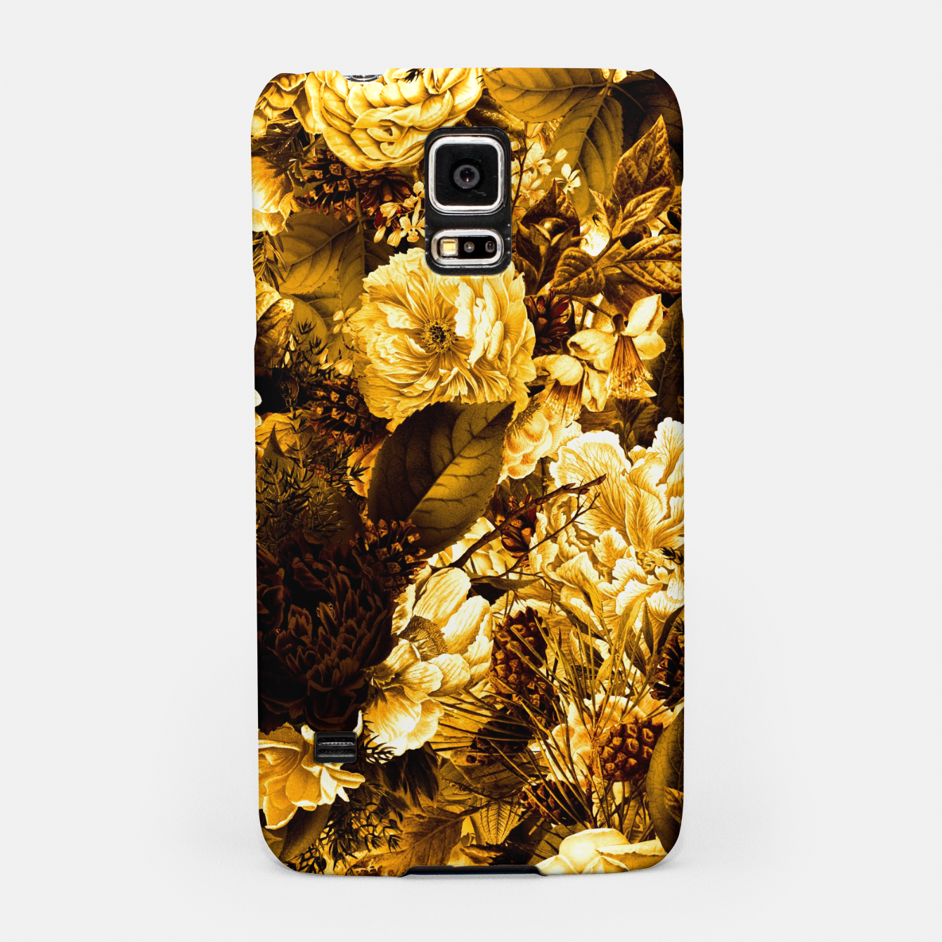 Image of winter flowers seamless pattern 01 big warm yellow Samsung Case - Live Heroes