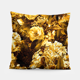 winter flowers seamless pattern 01 big warm yellow Pillow thumbnail image