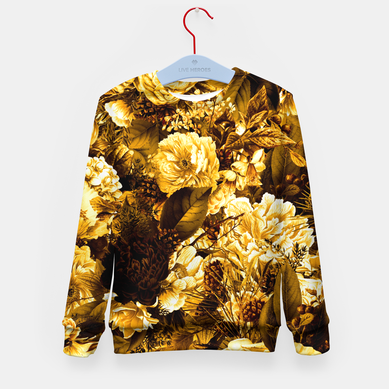 Image of winter flowers seamless pattern 01 big warm yellow Kid's sweater - Live Heroes