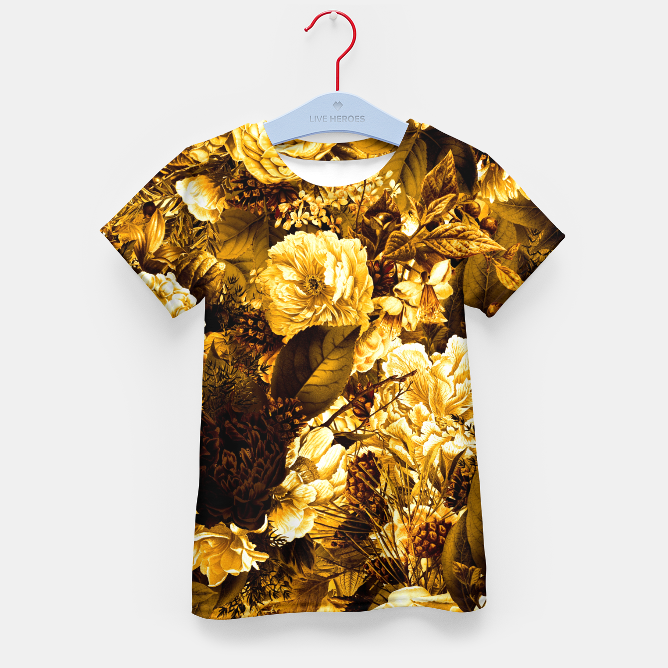 Image of winter flowers seamless pattern 01 big warm yellow Kid's t-shirt - Live Heroes