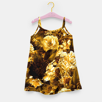 winter flowers seamless pattern 01 big warm yellow Girl's dress thumbnail image