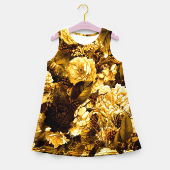winter flowers seamless pattern 01 big warm yellow Girl's summer dress thumbnail image