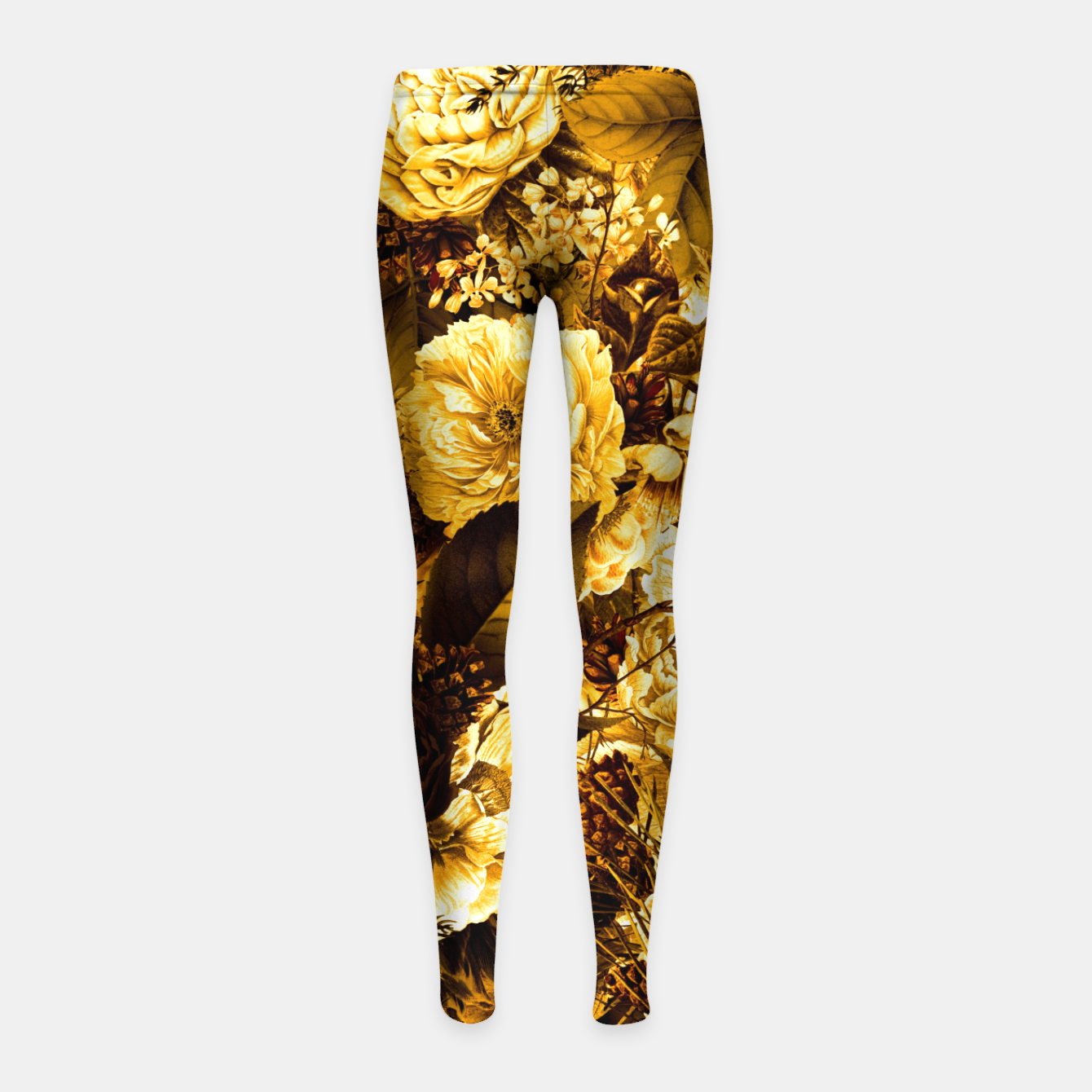 Image of winter flowers seamless pattern 01 big warm yellow Girl's leggings - Live Heroes