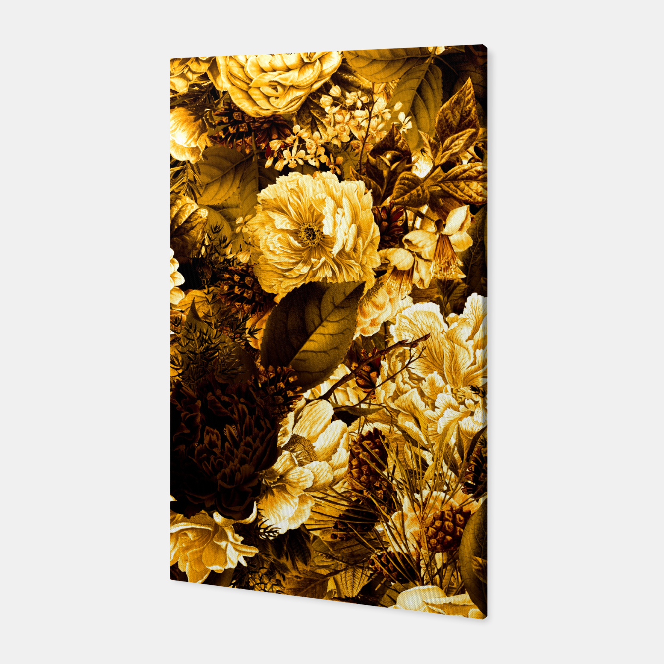 Image of winter flowers seamless pattern 01 big warm yellow Canvas - Live Heroes