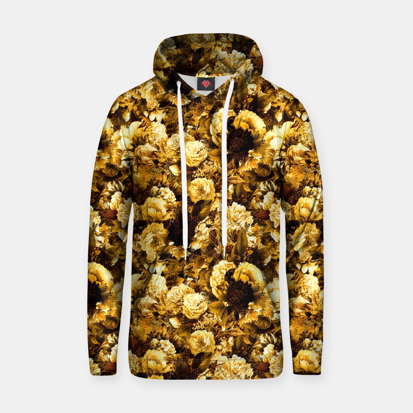 Image of winter flowers seamless pattern 01 small warm yellow Hoodie - Live Heroes