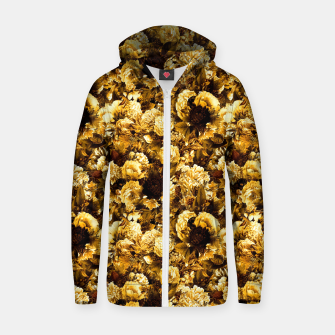 Thumbnail image of winter flowers seamless pattern 01 small warm yellow Zip up hoodie, Live Heroes