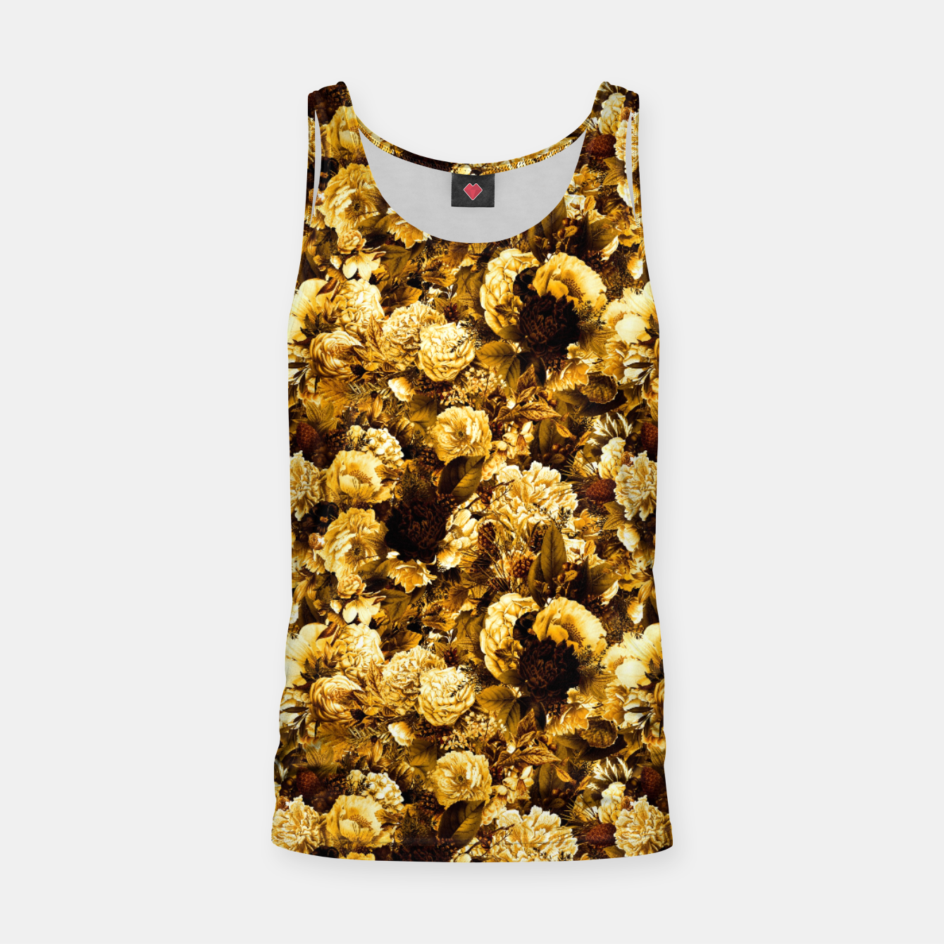 Image of winter flowers seamless pattern 01 small warm yellow Tank Top - Live Heroes
