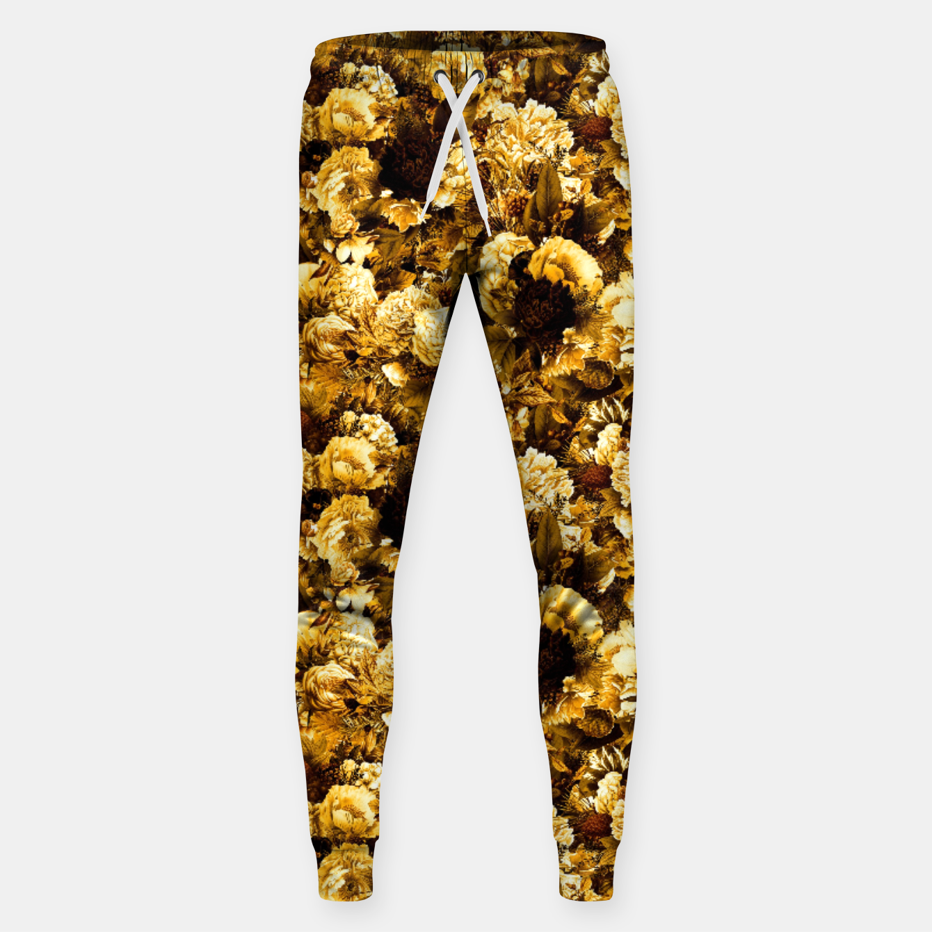 Image of winter flowers seamless pattern 01 small warm yellow Sweatpants - Live Heroes