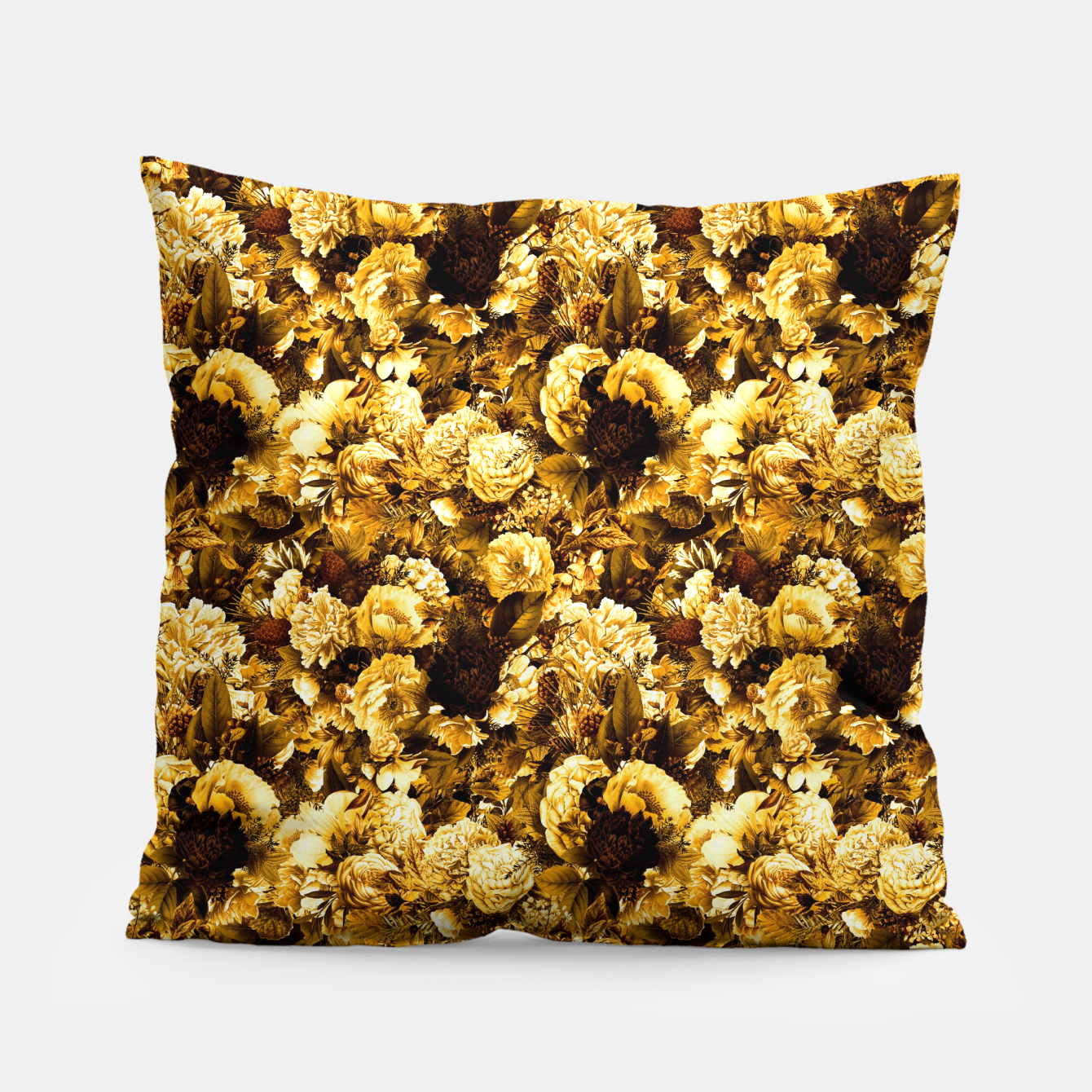 Image of winter flowers seamless pattern 01 small warm yellow Pillow - Live Heroes