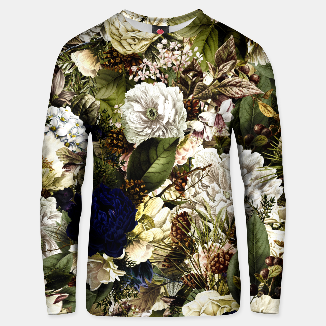 Image of winter flowers seamless pattern 01 big Unisex sweater - Live Heroes