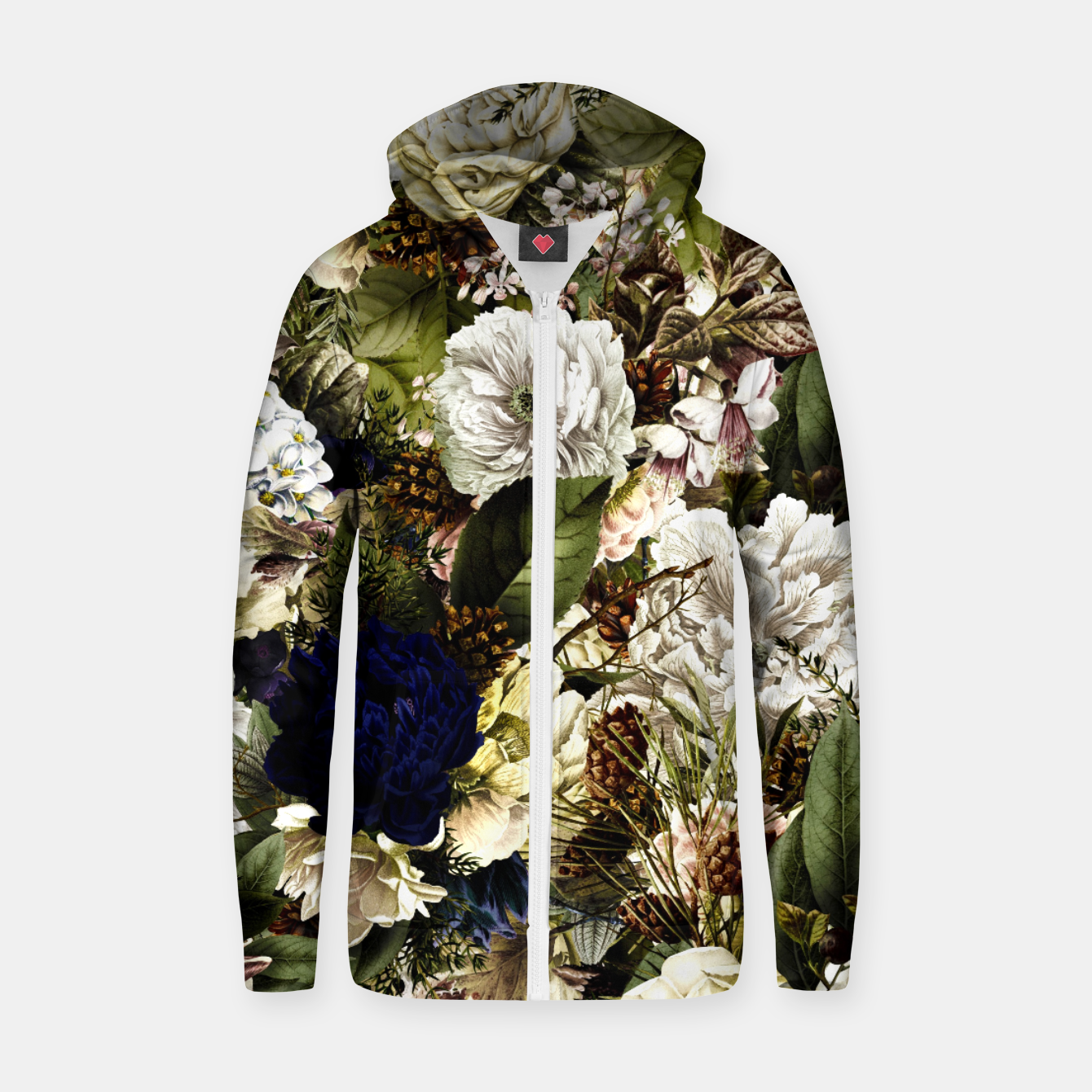 Image of winter flowers seamless pattern 01 big Zip up hoodie - Live Heroes