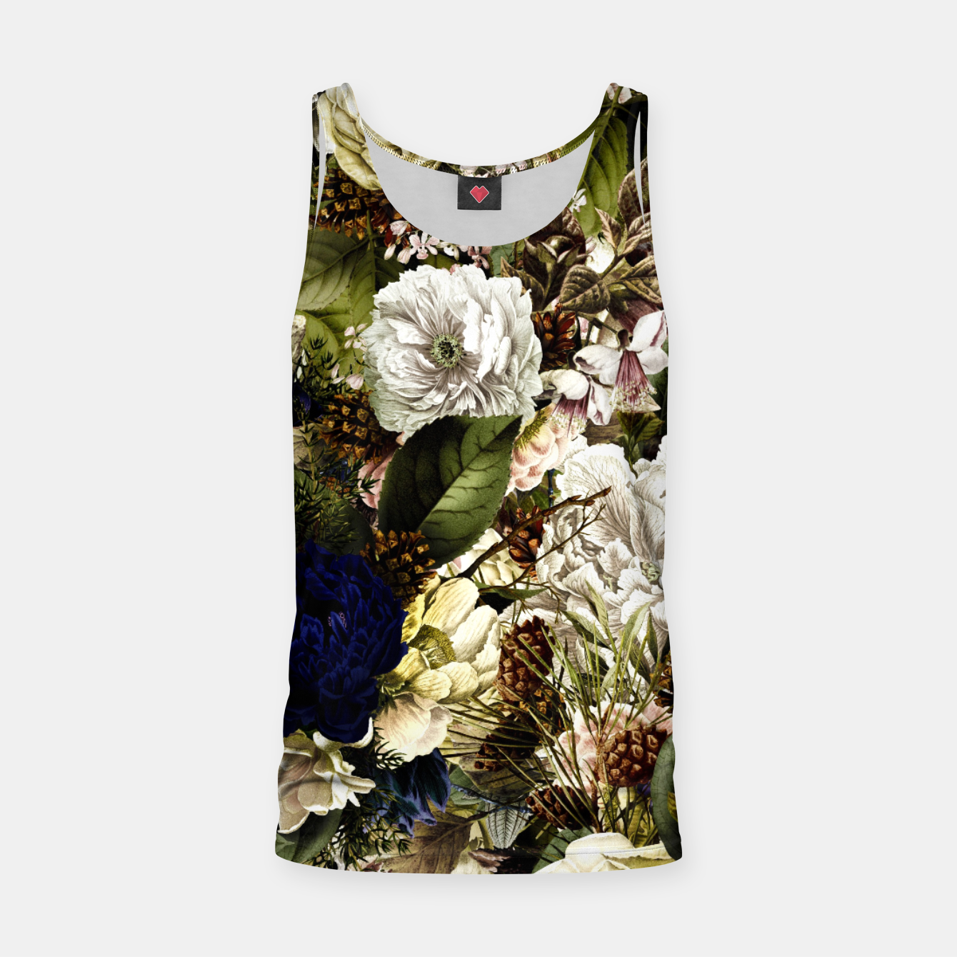 Image of winter flowers seamless pattern 01 big Tank Top - Live Heroes