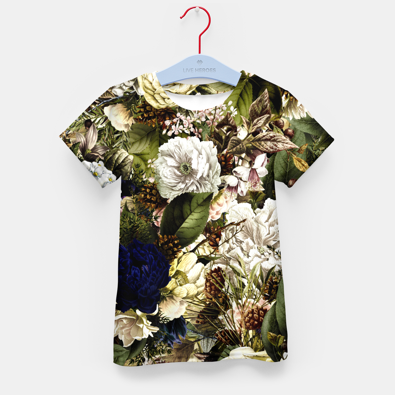 Image of winter flowers seamless pattern 01 big Kid's t-shirt - Live Heroes