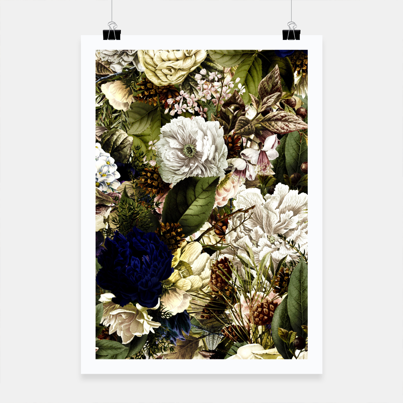 Image of winter flowers seamless pattern 01 big Poster - Live Heroes