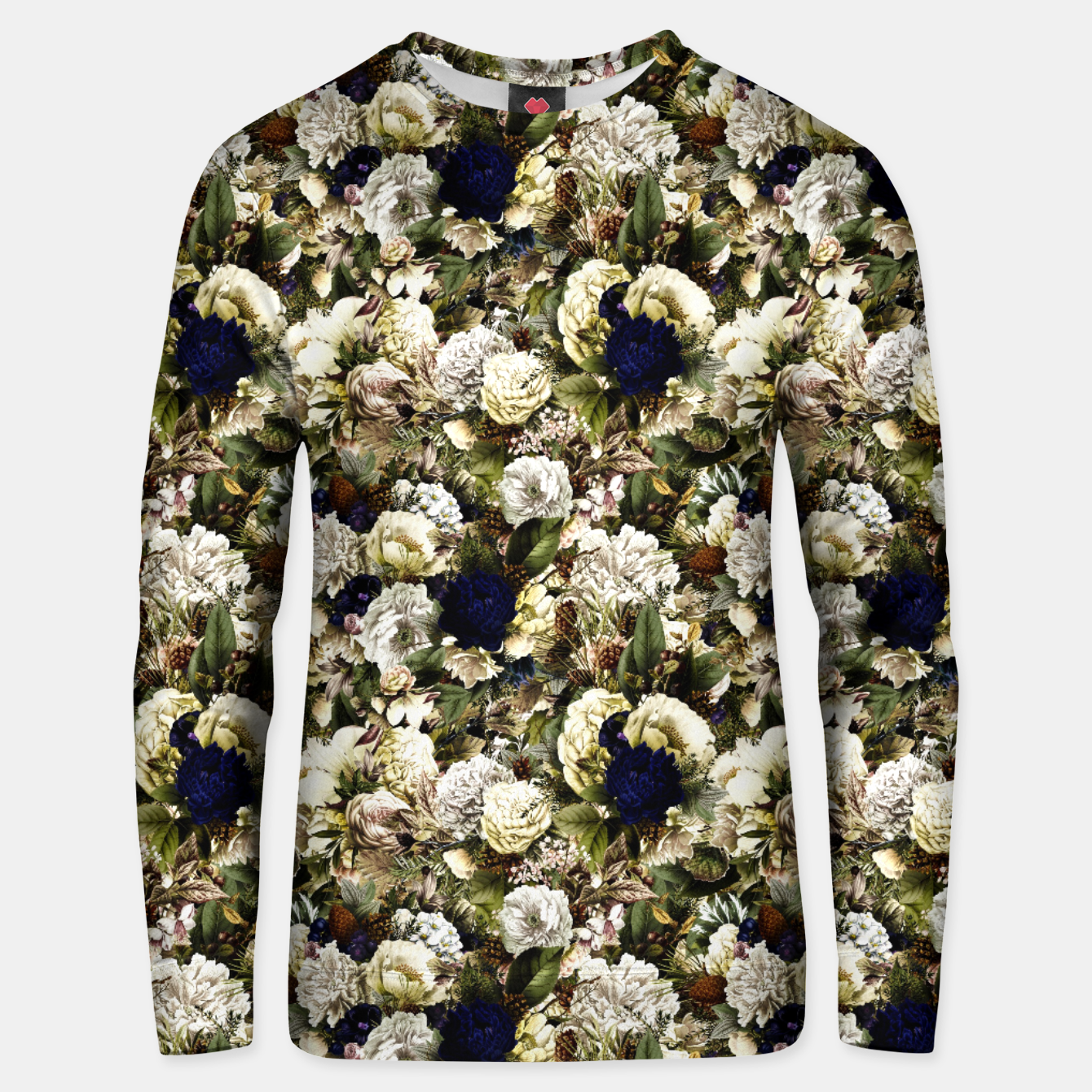 Image of winter flowers seamless pattern 01 small Unisex sweater - Live Heroes