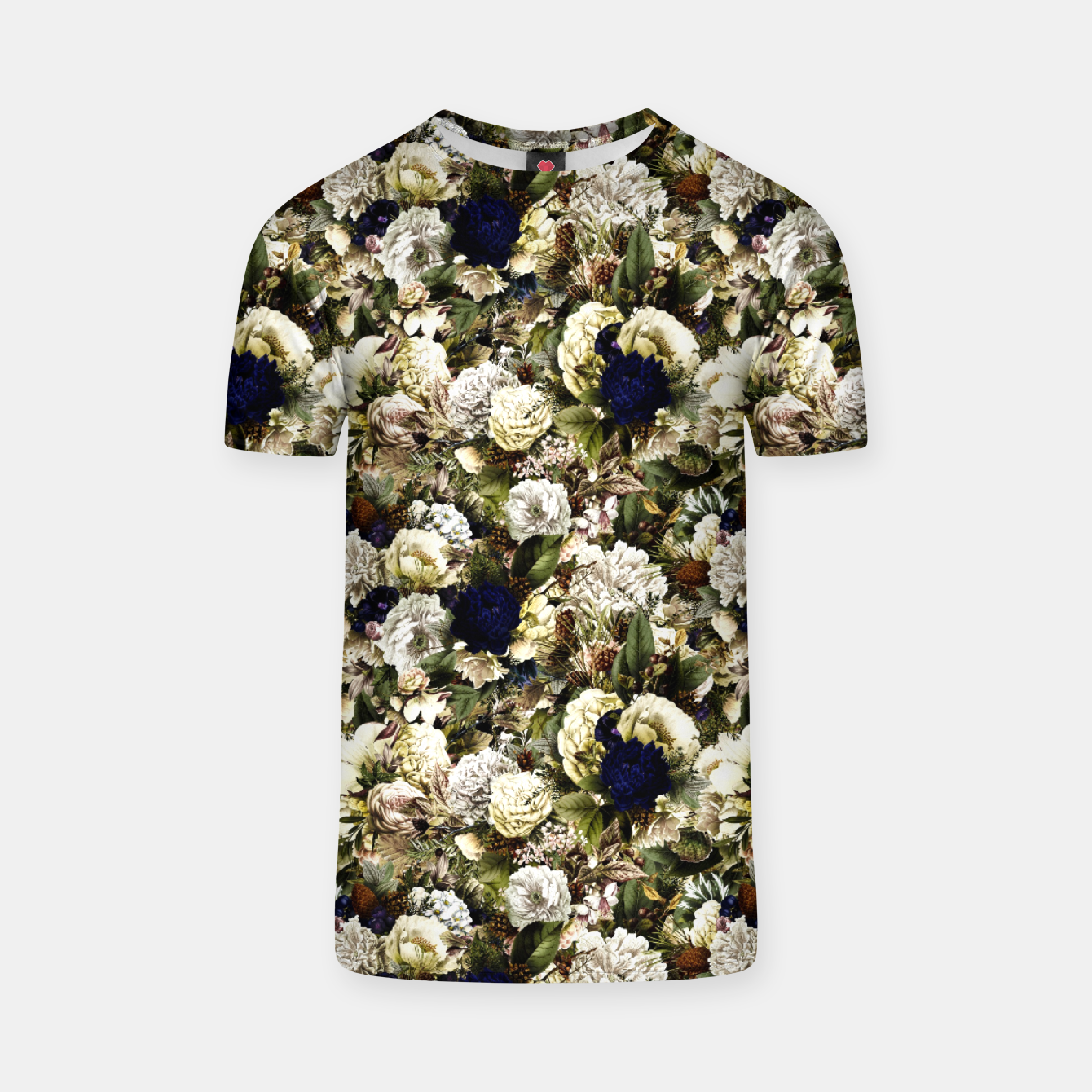 Image of winter flowers seamless pattern 01 small T-shirt - Live Heroes