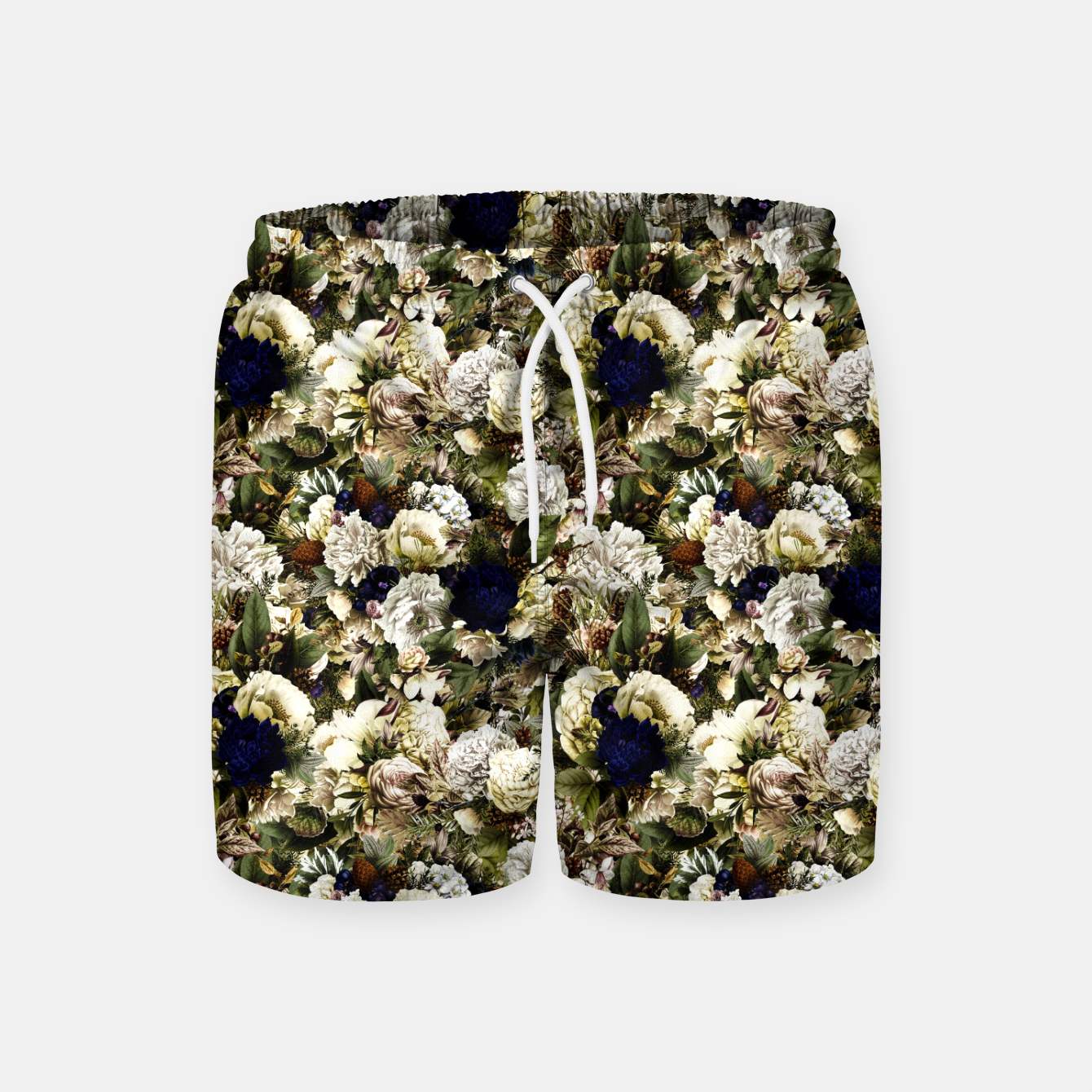 Image of winter flowers seamless pattern 01 small Swim Shorts - Live Heroes