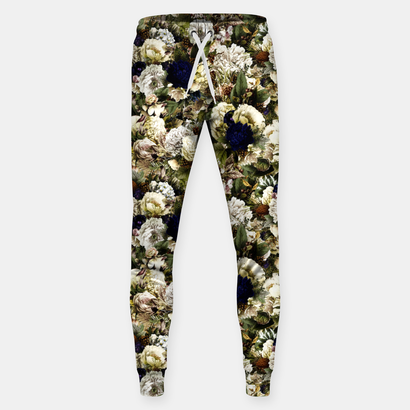 Image of winter flowers seamless pattern 01 small Sweatpants - Live Heroes