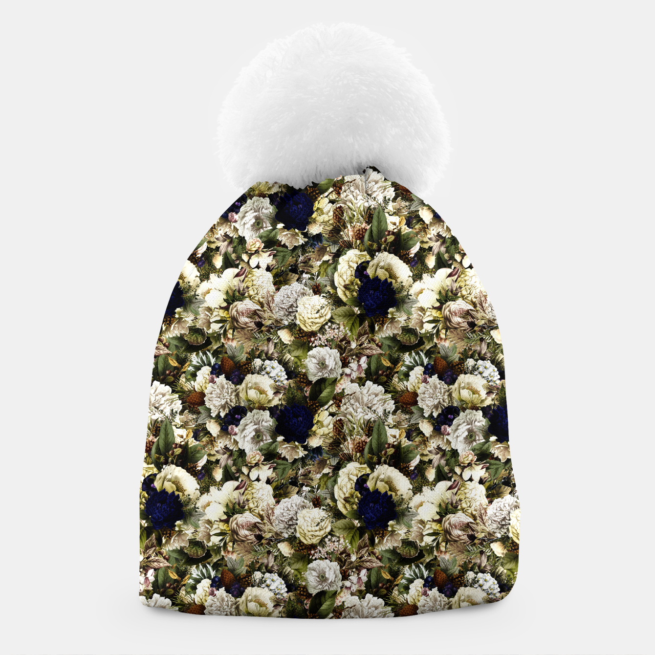Image of winter flowers seamless pattern 01 small Beanie - Live Heroes