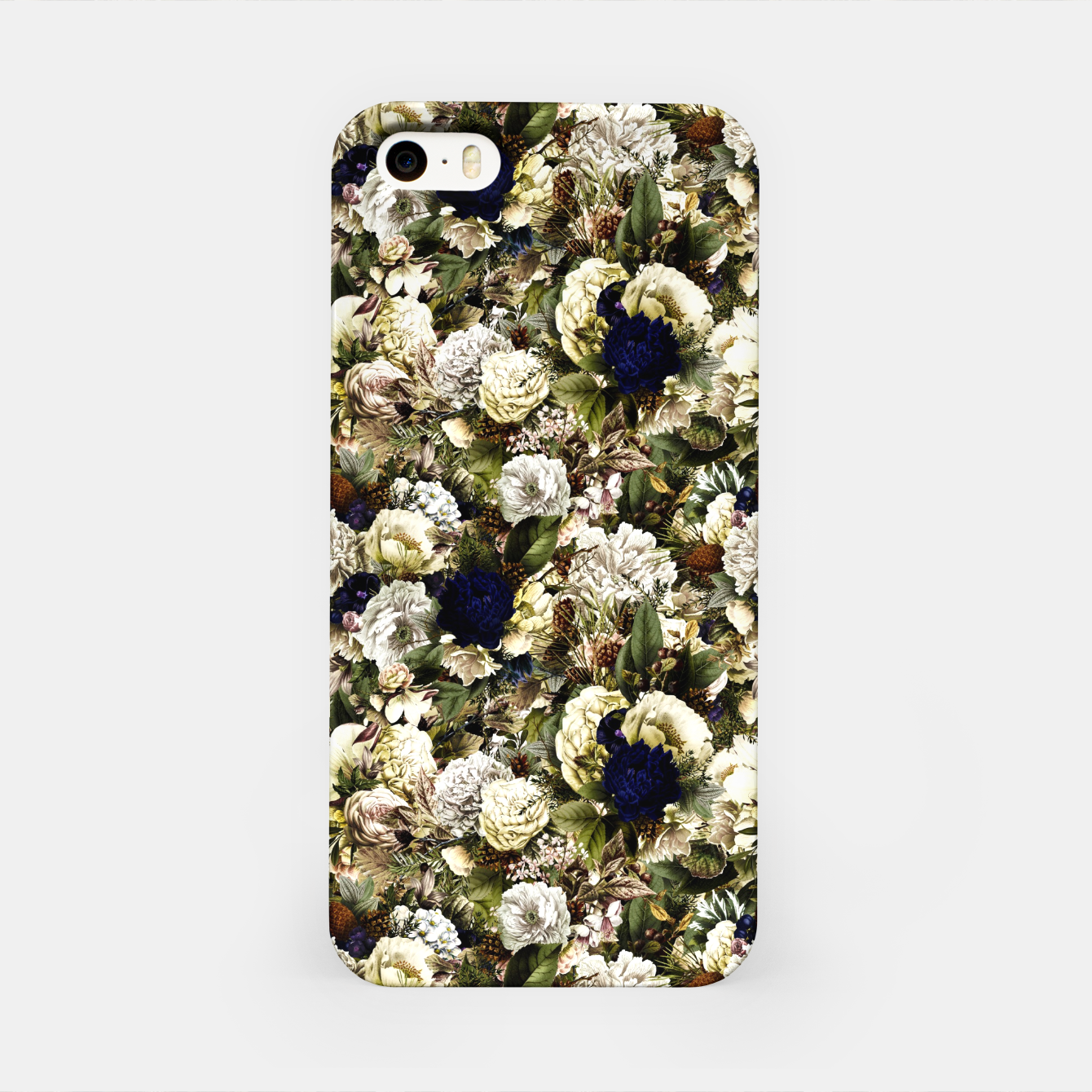 Image of winter flowers seamless pattern 01 small iPhone Case - Live Heroes