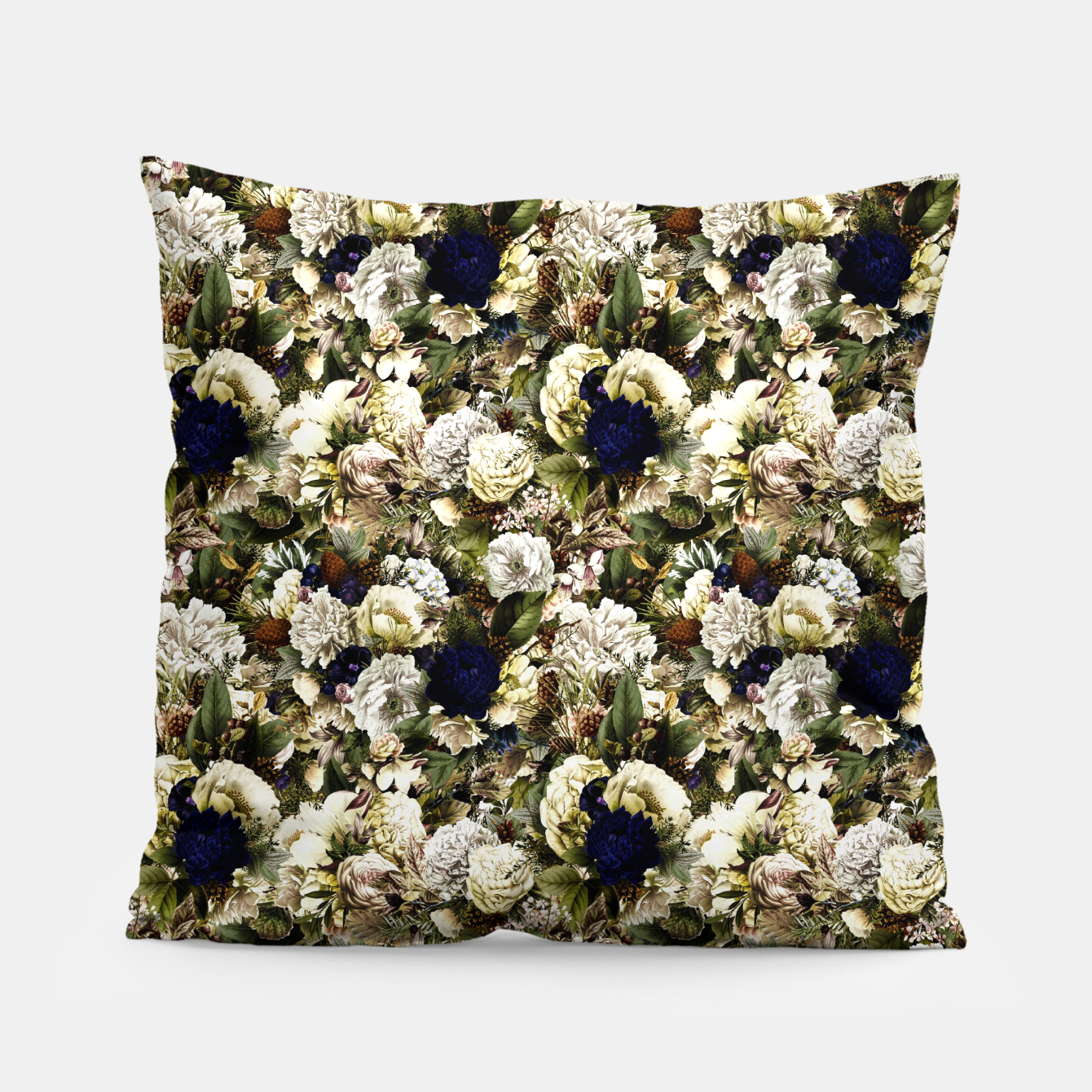 Image of winter flowers seamless pattern 01 small Pillow - Live Heroes