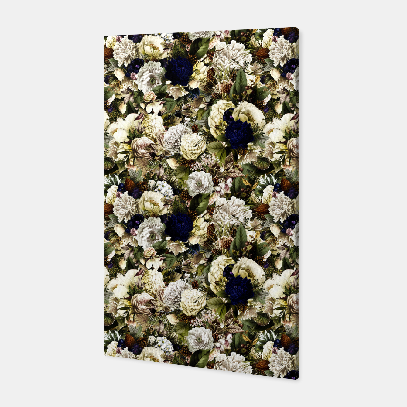 Image of winter flowers seamless pattern 01 small Canvas - Live Heroes
