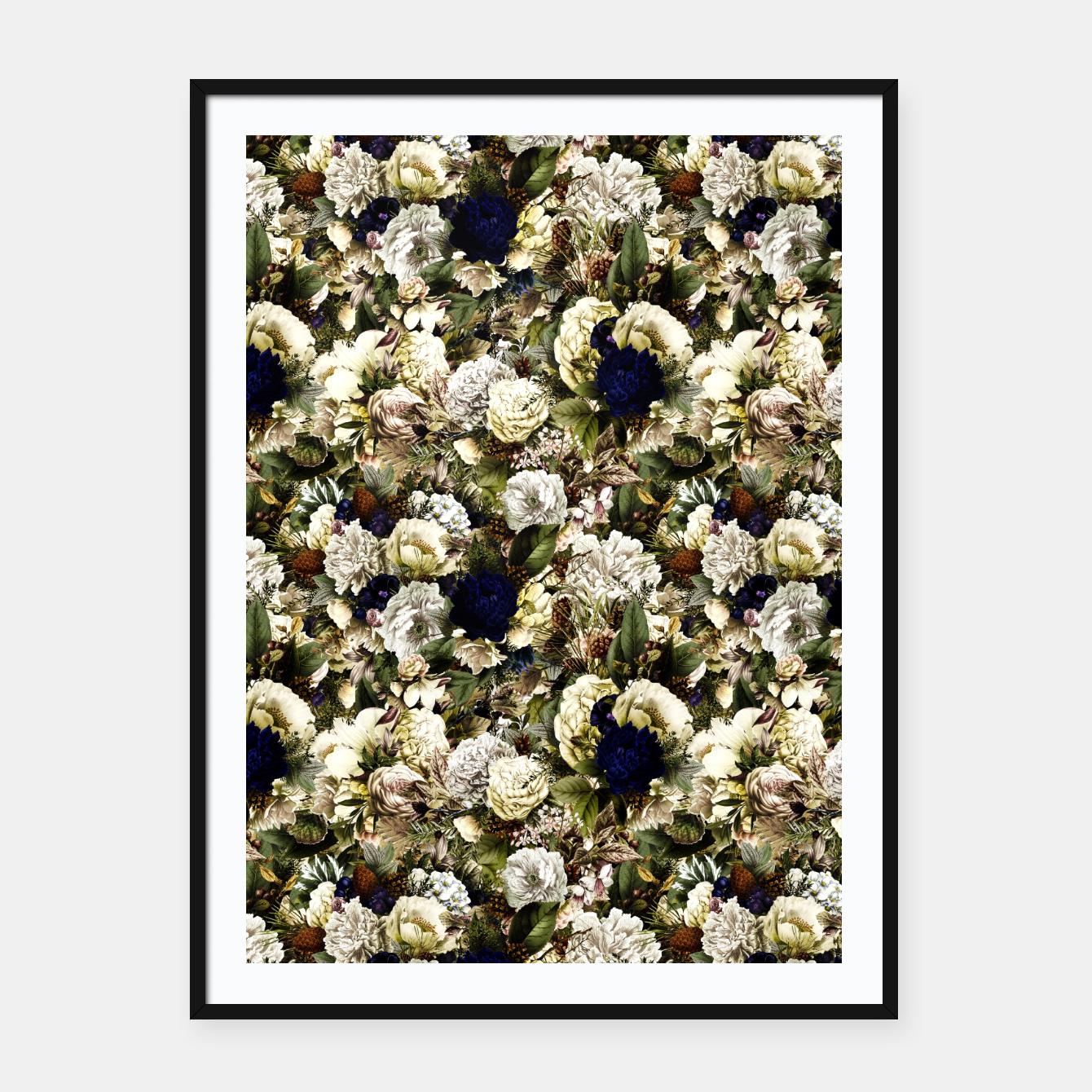 Image of winter flowers seamless pattern 01 small Framed poster - Live Heroes
