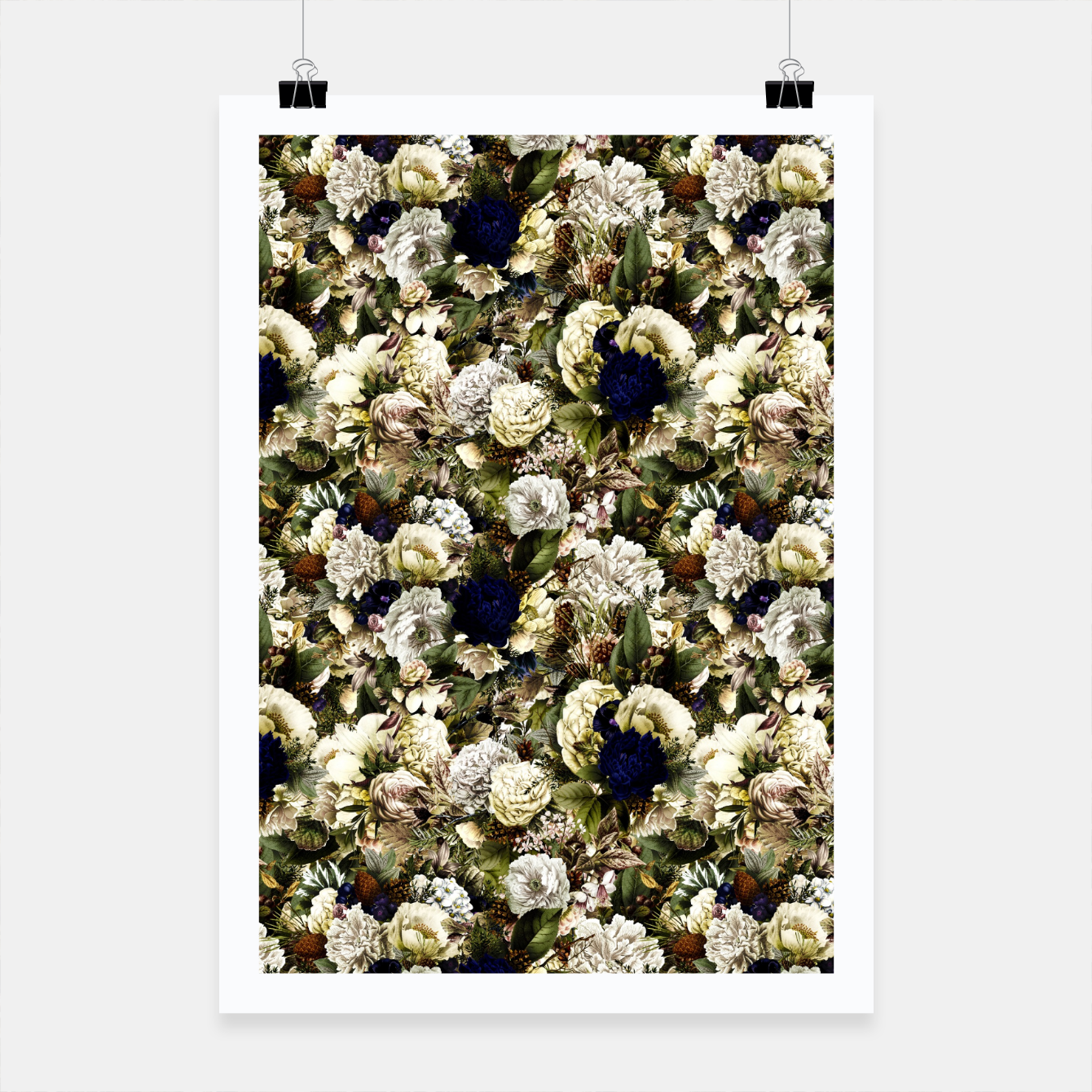Image of winter flowers seamless pattern 01 small Poster - Live Heroes