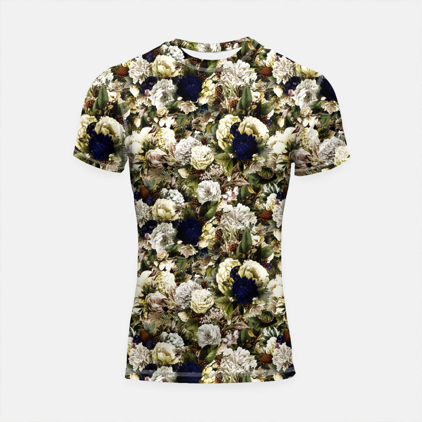 Image of winter flowers seamless pattern 01 small Shortsleeve rashguard - Live Heroes