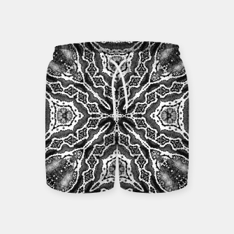 Thumbnail image of abstract jewel print gray Swim Shorts, Live Heroes