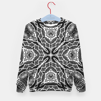 Thumbnail image of abstract jewel print gray Kid's sweater, Live Heroes