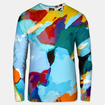 painting texture abstract in blue orange green yellow Unisex sweater thumbnail image