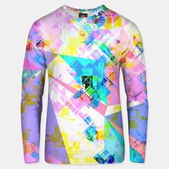 geometric triangle pattern abstract background in pink blue yellow green Unisex sweater thumbnail image