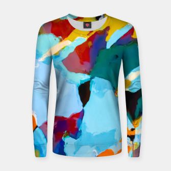 painting texture abstract in blue orange green yellow Women sweater thumbnail image