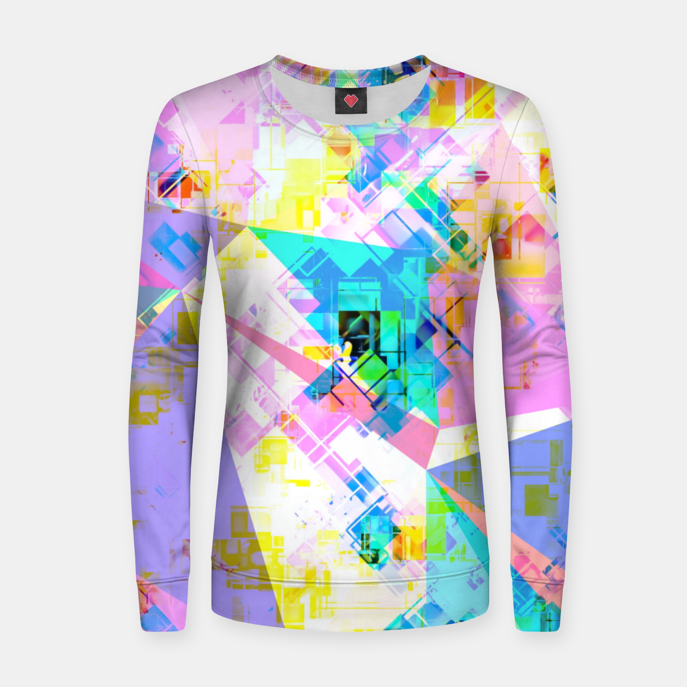 Image of geometric triangle pattern abstract background in pink blue yellow green Women sweater - Live Heroes