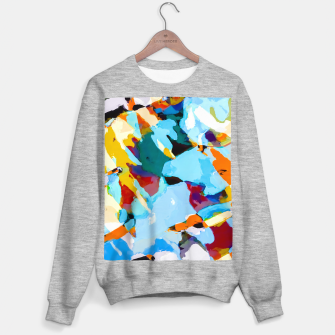 painting texture abstract in blue orange green yellow Sweater regular thumbnail image