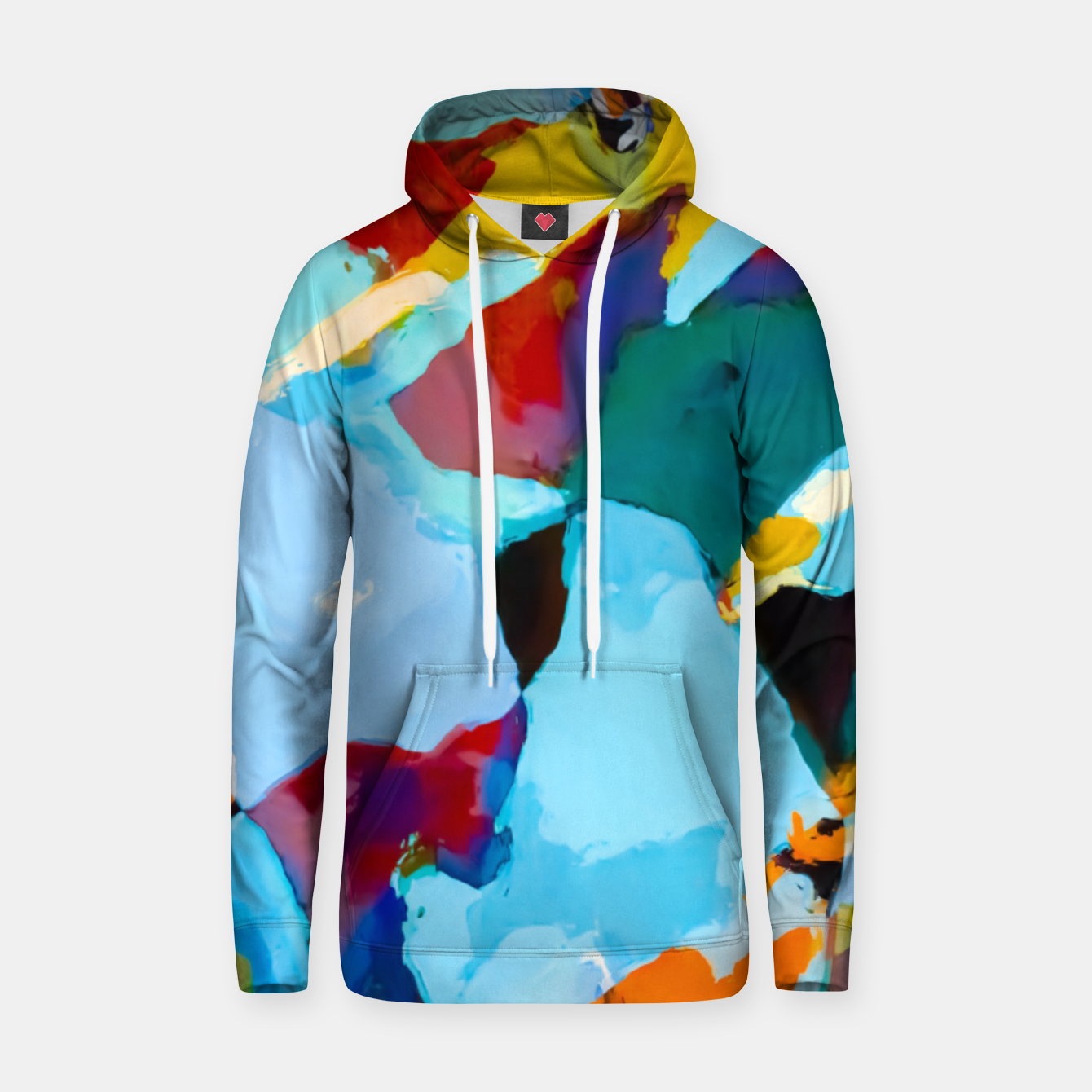 Image of painting texture abstract in blue orange green yellow Hoodie - Live Heroes