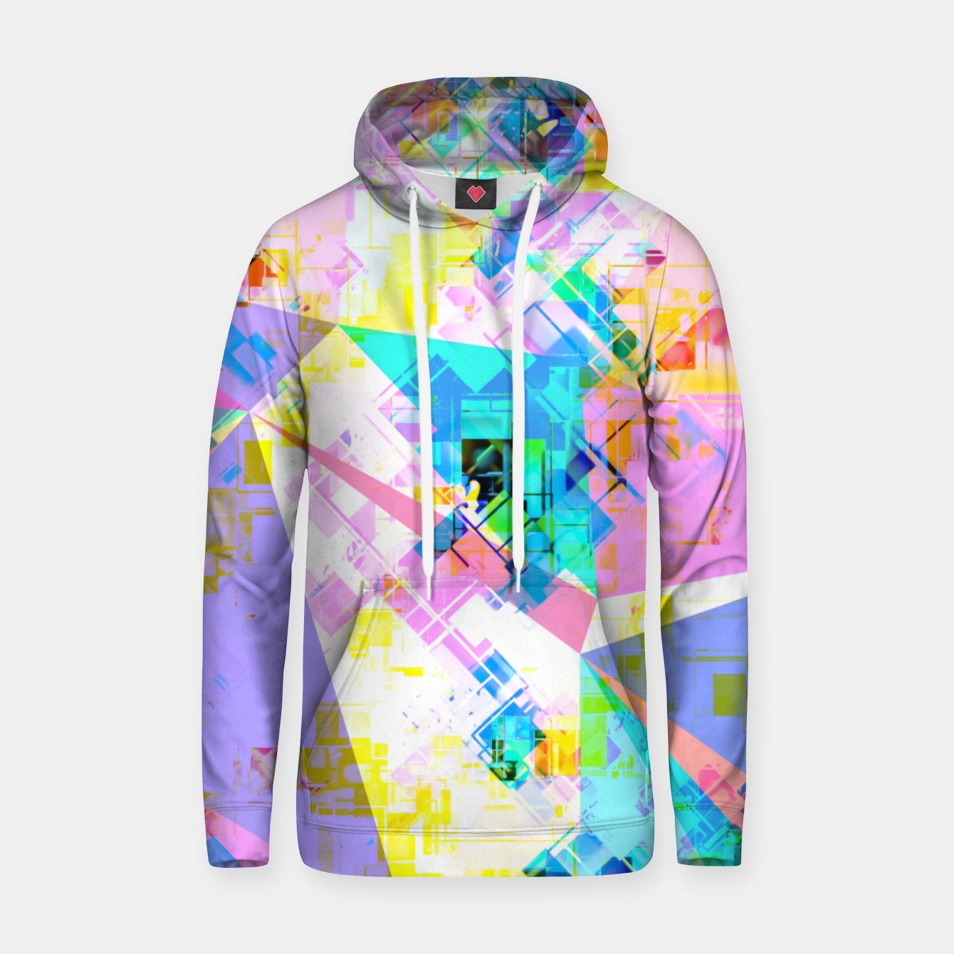 Image of geometric triangle pattern abstract background in pink blue yellow green Hoodie - Live Heroes