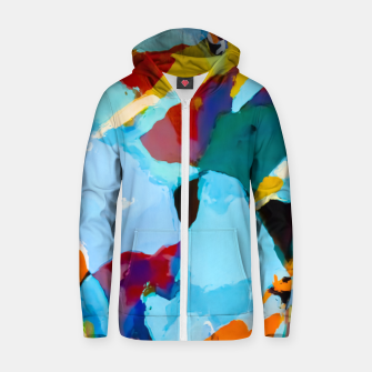 painting texture abstract in blue orange green yellow Zip up hoodie thumbnail image
