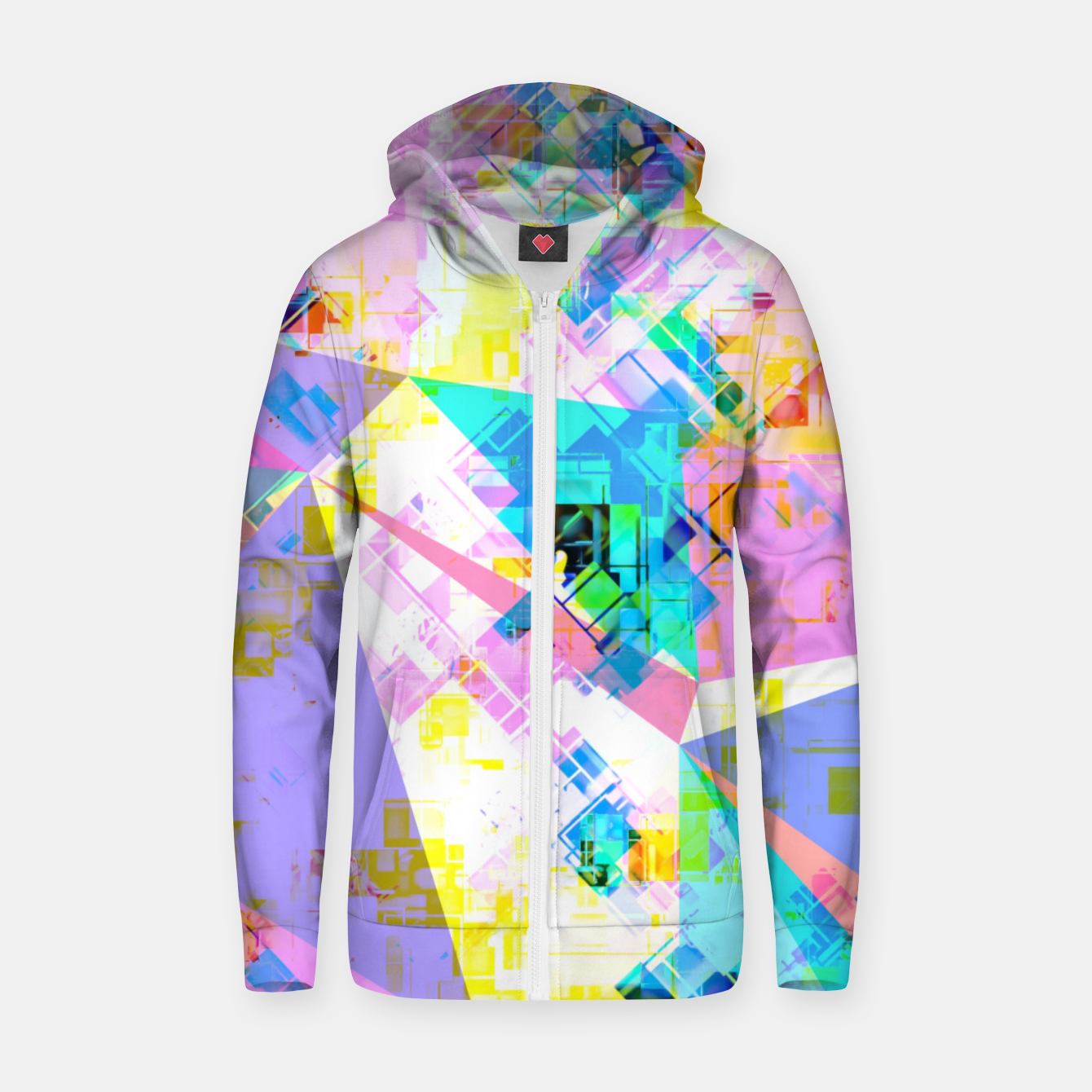 Image of geometric triangle pattern abstract background in pink blue yellow green Zip up hoodie - Live Heroes