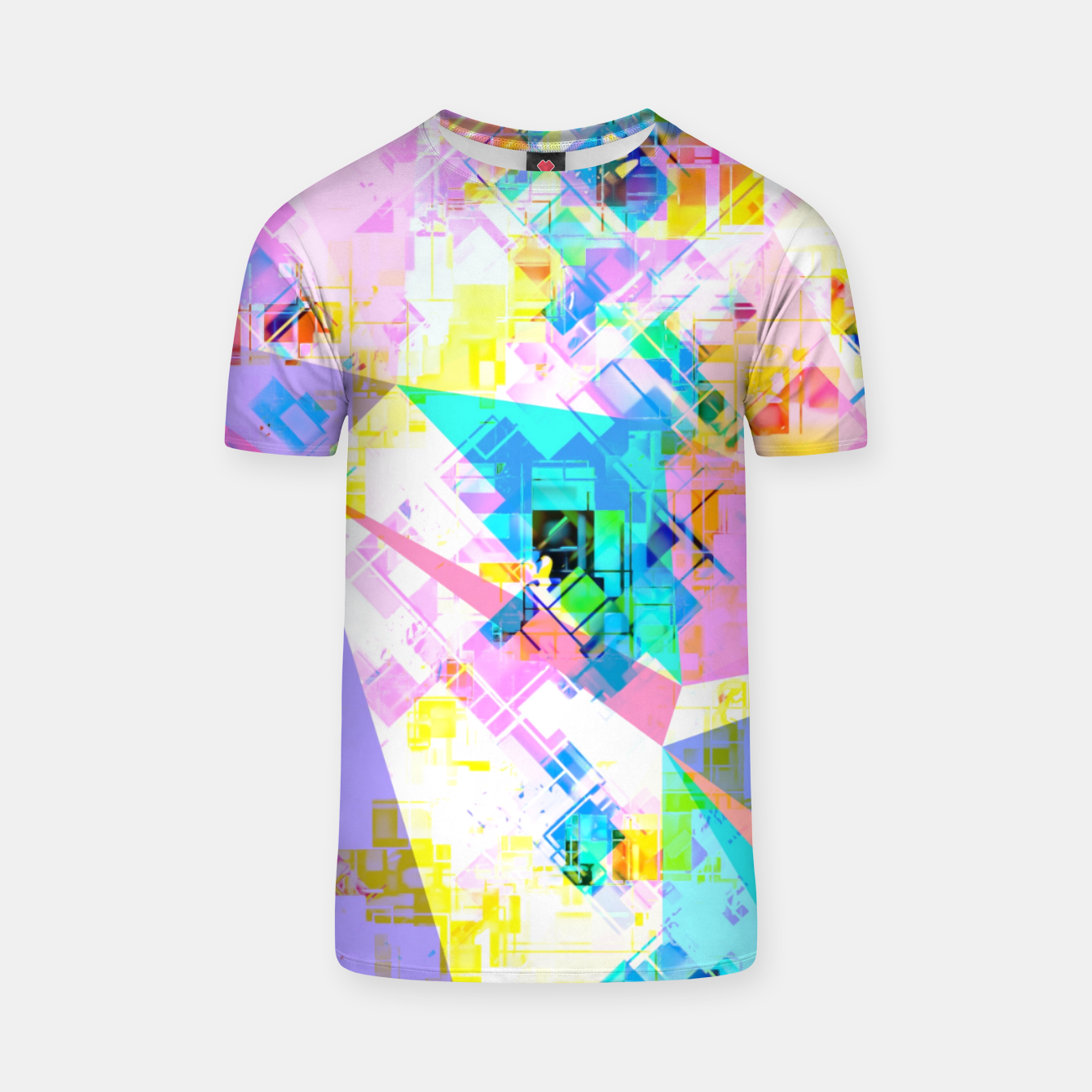 Image of geometric triangle pattern abstract background in pink blue yellow green T-shirt - Live Heroes
